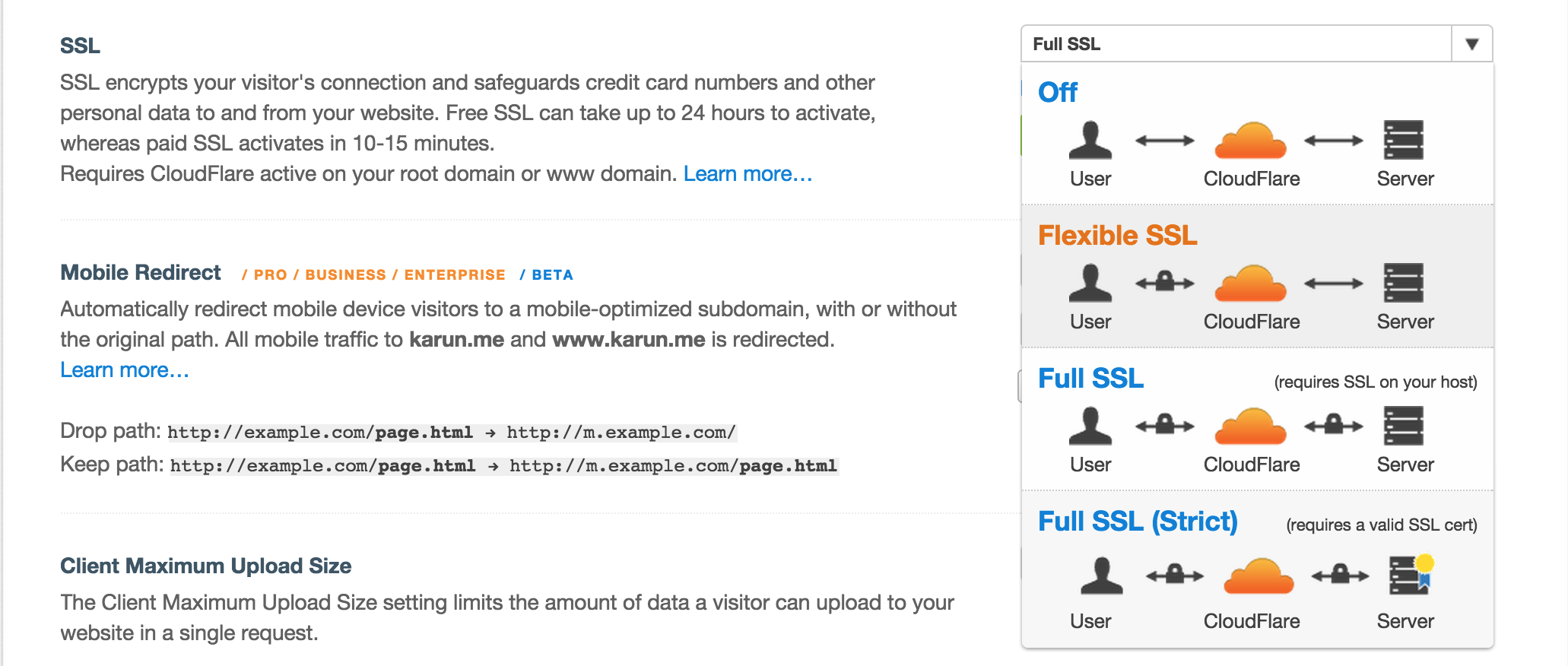 CloudFlare SSL Config